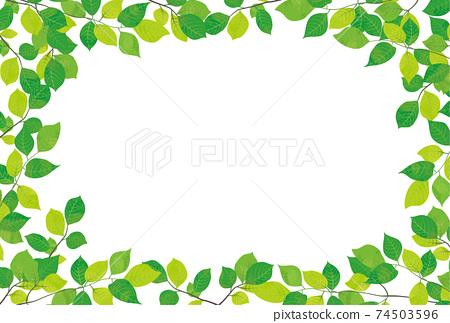 清新的綠色裝飾框材料 74503596