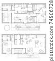 재택 업무 공간이있는 위층 거실의 구조 (그레이) 74506728