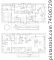 재택 업무 공간이있는 위층 거실의 구조 (흑백) 74506729