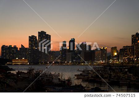 어선,노을,석양,일몰,마린시티,해운대구,부산 74507515