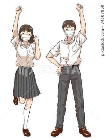 積極進取的中學生(夏季服裝/口罩) 74507909