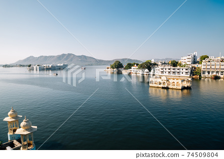 View of Pichola lake in Udaipur, India 74509804