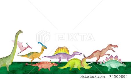 行走的恐龍背景框架水彩插圖風景 74509894