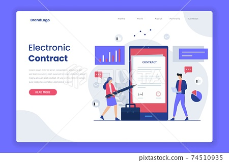 Electronic contract illustration landing page template. Illustration for websites, landing pages, mobile applications, posters and banners. 74510935