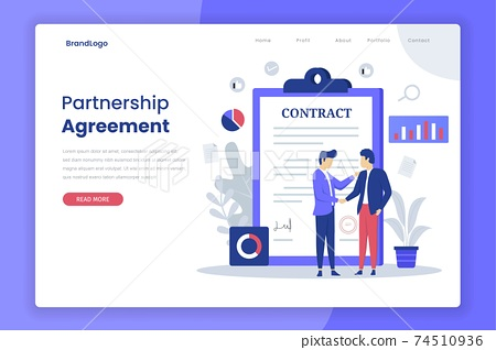 Partnership agreement illustration landing page. Illustration for websites, landing pages, mobile applications, posters and banners. 74510936