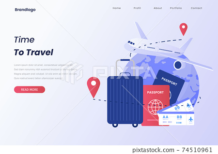 Illustration of time to travel for landing page. Illustration for websites, landing pages, mobile applications, posters and banners.	 74510961