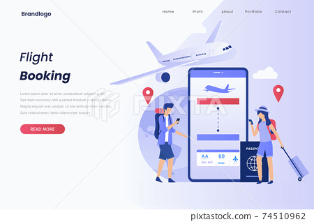 Concept illustration landing page of book your flight. Illustration for websites, landing pages, mobile applications, posters and banners. 74510962