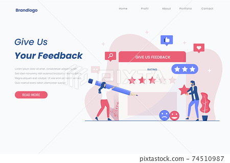 Online feedback illustration concept. Online customers opinion, rating and review concept. Illustrations for websites, landing pages, mobile apps, posters and banners. 74510987