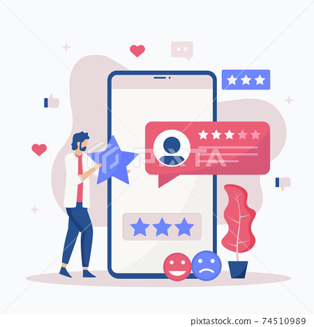 Online feedback illustration concept. Online customers opinion, rating and review concept. Illustrations for websites, landing pages, mobile apps, posters and banners. 74510989