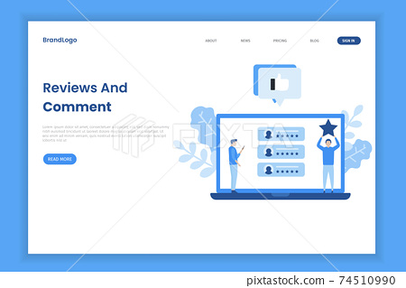 Online feedback illustration concept. Online customers opinion, rating and review concept. Illustrations for websites, landing pages, mobile apps, posters and banners. 74510990
