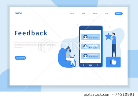 Online feedback illustration concept. Online customers opinion, rating and review concept. Illustrations for websites, landing pages, mobile apps, posters and banners.	 74510991