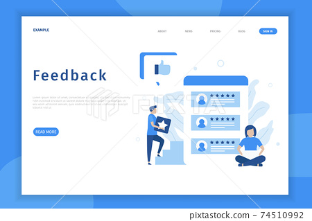 Online feedback illustration concept. Online customers opinion, rating and review concept. Illustrations for websites, landing pages, mobile apps, posters and banners. 74510992