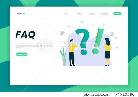 FAQ illustration landing page concept. That design can be used for websites, landing pages, UI, mobile applications, posters, banners 74510996