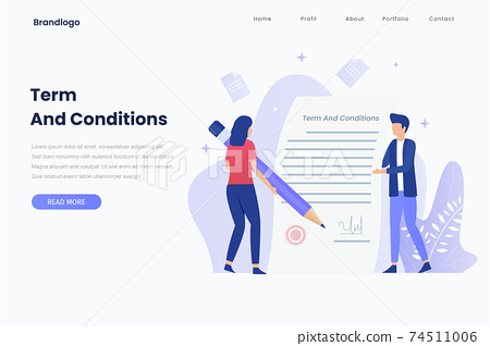 Vector illustration of terms and conditions concept. Illustration for websites, landing pages, mobile applications, posters and banners. 74511006