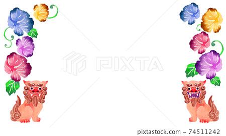 沖繩Shisa芙蓉花背景框架水彩插圖風景 74511242