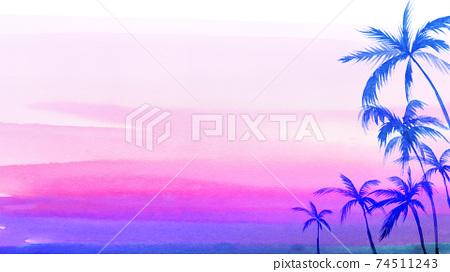 棕櫚樹和落日的天空背景框架水彩插圖風景 74511243