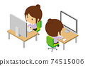 Isometric illustration of a woman working on a computer 74515006