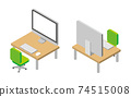 Isometric illustrations of personal computers and desks 74515008