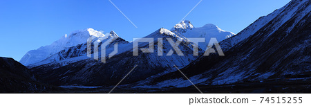 Snow mountains under blue sky in tibet,China 74515255