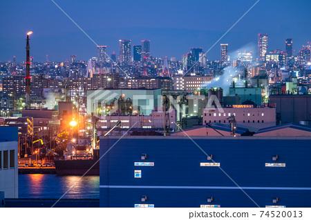 《神奈川》工廠夜景和城市夜景 74520013