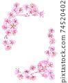 水彩風格櫻花框架角型 74520402