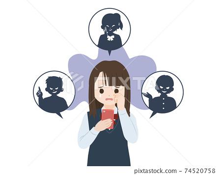 在網上誹謗學生或SNS,女學生,初中和高中學生,插圖資料 74520758