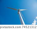 재생 에너지의 이미지 푸른 하늘 아래 회전하는 바람개비 풍력 발전소 74521312
