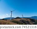 재생 에너지의 이미지 푸른 하늘 아래 회전하는 바람개비 풍력 발전소 74521316