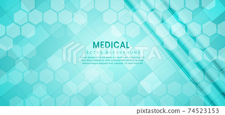 Abstract hexagon pattern background. Medical and science concept and structure molecule and communication. 74523153