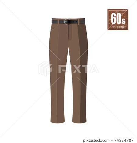 Retro trousers in realistic style on white background. Old fashion. 60s vogue. Vintage brown pants icon. Isolated icon 74524787