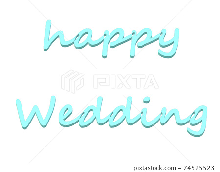 Happy Wedding 3D English Cursive (Light Blue) 74525523
