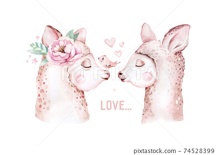 Cute watercolor llama, alpaca illustration isolated on white. Llama print ethnic blanket, flowers wreath, floral bouquet and boho mexican decoration 74528399