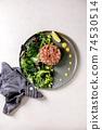 Tuna tartare with green salad 74530514