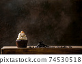 Chocolate cupcakes with caramel 74530518