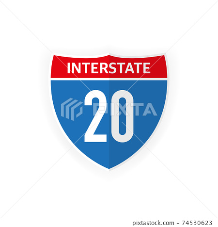Interstate highway 20 road sign icon isolated on white background. Vector illustration. 74530623