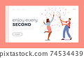 Young Man and Girl Celebrate Landing Page Template. Happy Male and Female Characters Enjoying Sparklers and Champagne 74534439