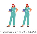 Hospital Healthcare Staff at Work. Medicine Profession, Occupation. Female Doctor in Medical Robe with Stethoscope 74534454