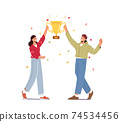 Successful Businessman and Businesswoman Holding Huge Golden Goblet in Hands Business Goal Achievement 74534456