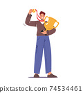 Successful Businessman Character with Gold Goblet in Hand and Golden Medal Celebrate Victory or Goal Achievement, Winner 74534461