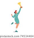 Successful Businesswoman in Casual Dress Jump with Golden Goblet in Hand Celebrating Victory in Competition 74534464