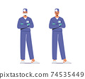 Male Doctor in Blue Medical Robe with Head Mirror Wear Mask Stand with Crossed Arms. Clinical Medicine Profession 74535449