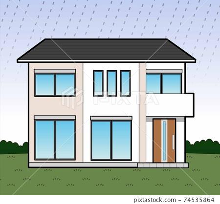 House on a rainy day 74535864