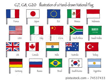 G20,G8,G7標誌用棍棒的手繪插圖 74537433