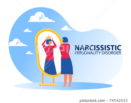 Woman looking on mirror herself with Narcissistic personality disorder symptoms 74542015