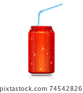 Realistic red can with drops of water isolated on 74542826