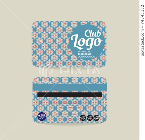 Front And Back Club Member Card Vintage Template Vector Illustration. 74543132