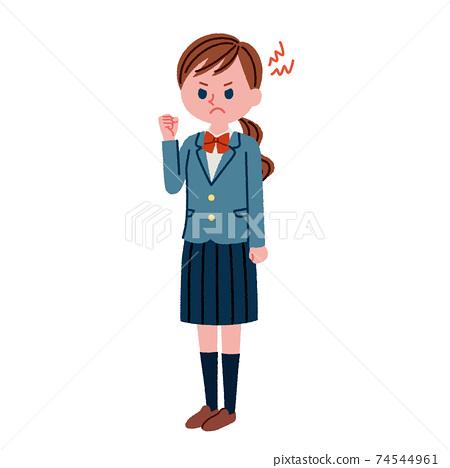 生氣的高中女生的插圖素材(全身) 74544961