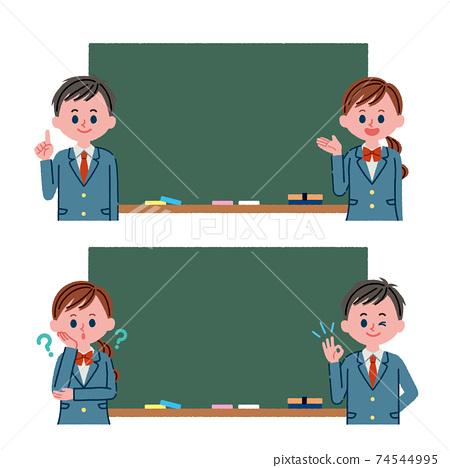 黑板和學生插圖素材 74544995