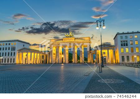 Berlin Germany, sunset city skyline at Brandenburg Gate (Brandenburger Tor) 74546244