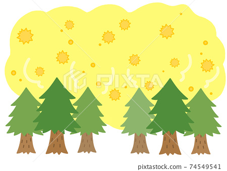 삼나무 꽃가루 비산 일러스트 소재 74549541